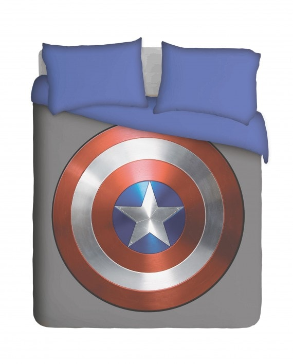 Captain America Shield with Blue Pillowcases Duvet Cover Set