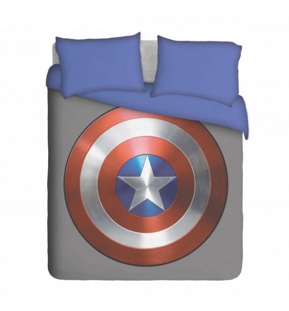 Captain America Shield with Blue Pillowcases Duvet Cover Set