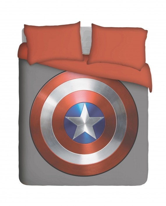 Captain America Shield with Red Pillowcases Duvet Cover Set
