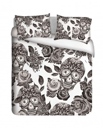 Sugar Skulls and Roses Duvet Cover Set
