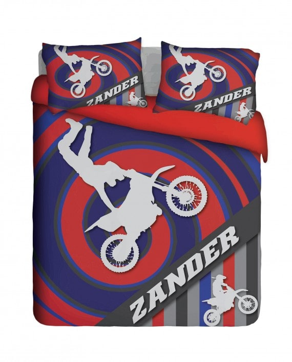 biker with name duvet cover set
