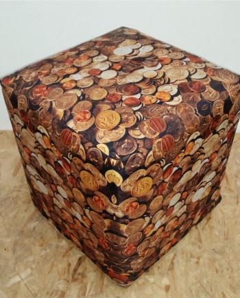 Treasure Coins Ottoman Slip Cover