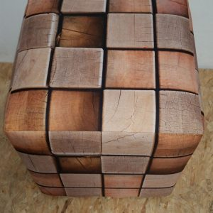 Wooden Cube Ottoman Slip Cover
