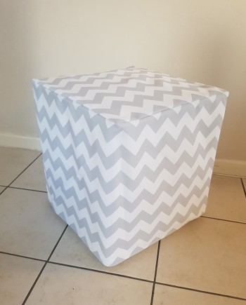 Grey and White Chevron Ottoman Slip Cover