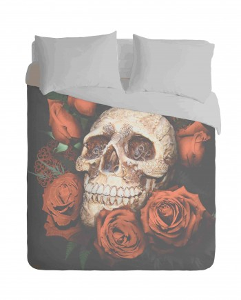 Skull and Red Roses Duvet Cover Set