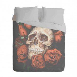 Skull and Red Roses Duvet Cover Set