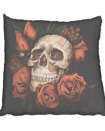 Skull and Red Roses Scatter Cushion