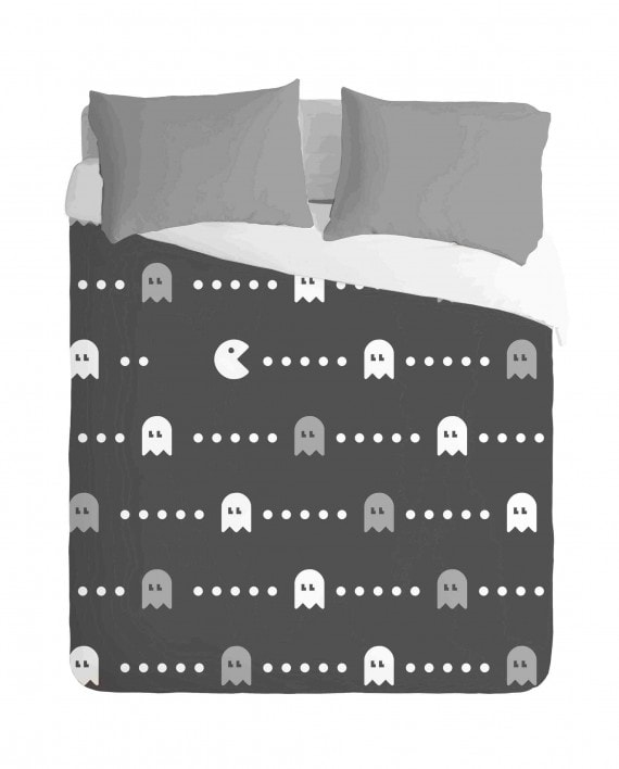 Gaming Pacman Black Duvet Cover Set