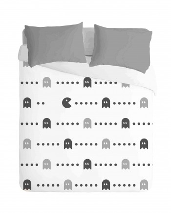 Gaming Pacman White Duvet Cover Set