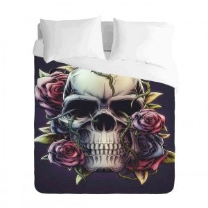 Skull Roses Duvet Cover Set