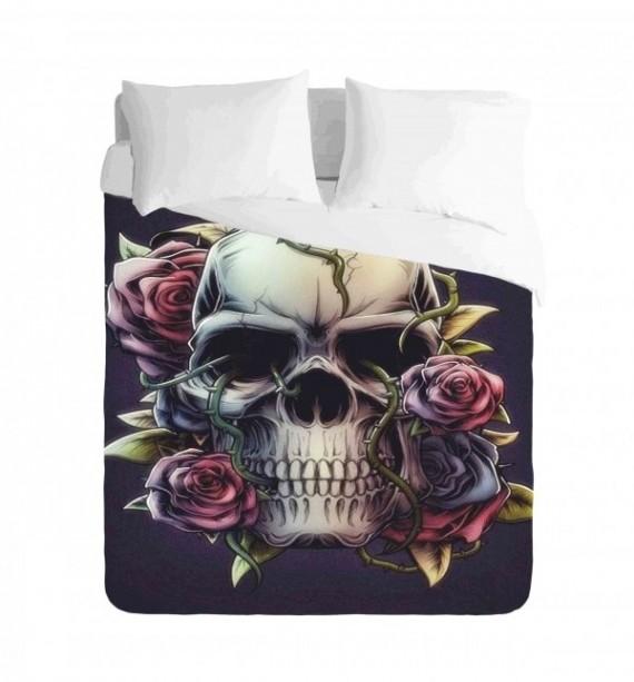 Skull Roses Duvet Cover Set