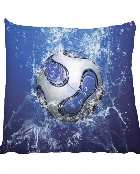Soccer Ball Blue Water Scatter Cushion
