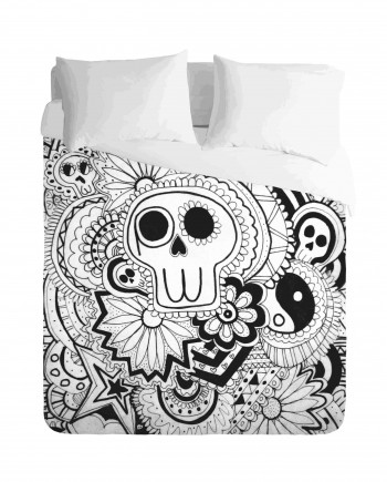 Skull Mexican Monochrome Duvet Cover Set