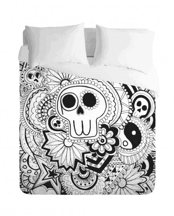 Skull Mexican Monochrome Duvet Cover Set