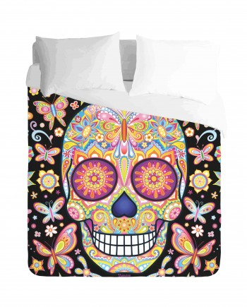 Skulls and Butterflies Duvet Cover Set