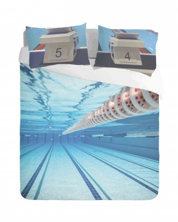 Swimming Pool and Starting Blocks Duvet Cover Set