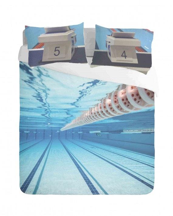 Swimming Pool and Starting Blocks Duvet Cover Set