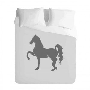 Saddlebred Grey Silhouette Horse Duvet Cover Set
