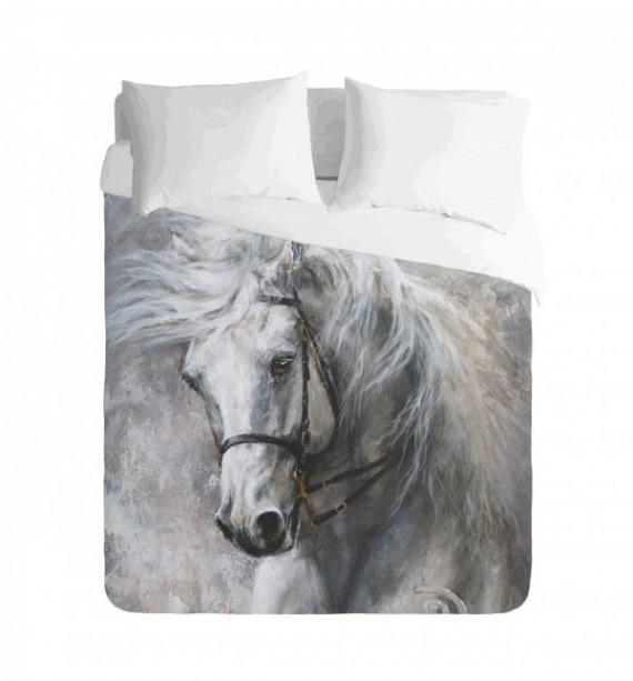 Saddlebred White Horse Duvet