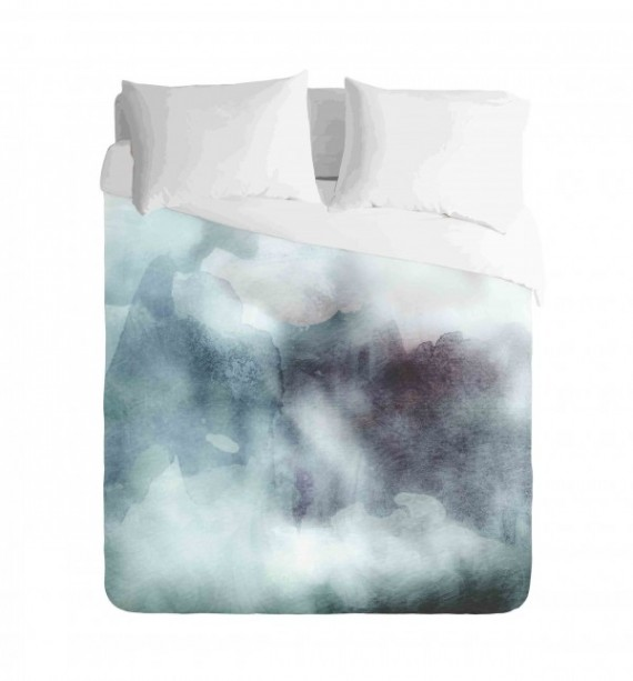 Ombre Cloudy Teal and Purple Watercolours Duvet